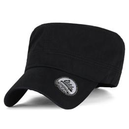ililily Extra breites und Ausmaß Solid Farbe Militär Armee Hut Baumwolle klassischer Stil Kadett Cap , Black -