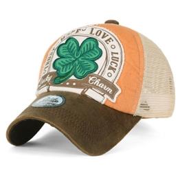 ililily Four Blatt Clover Flicken künstliches Leder Krempe Trucker Cap Hut Baseball Cap , Beige -