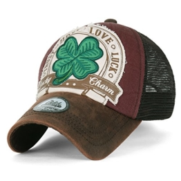 ililily Four Blatt Clover Flicken künstliches Leder Krempe Trucker Cap Hut Baseball Cap , Brown -