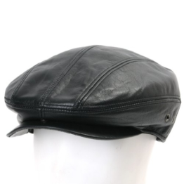 ililily Genuine Leather Newsboy Flat Cap Cabbie Gatsby ivy Driver Hunting Hut (flatcap-512-2-L) -