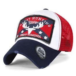 ililily GREAT Golfermütze Flicken klassischer Stil abgenutztes Aussehen Netz Baseball Cap Trucker Cap Hut , Navy Red -