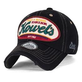 ililily Howel's abgenutztes Aussehen klassischer Stil Solid Farbe Baumwolle Baseball Cap Trucker Cap Hut , Black -