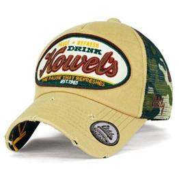 ililily Howel's Tarnkleidung (Camouflage) Baseball Netz Cap abgenutztes Aussehen klassischer Stil Trucker Cap Hut , Khaki -