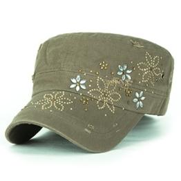 ililily Kristall Gemstone Stollen Blumenmuster klassischer Stil Baumwolle Militär Armee Hut Kadett Cap , Olive Drab -
