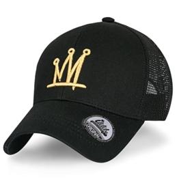 ililily Krone abgebildet im Logo Stickerei Solid Baumwolle Köper Netz Baseball Cap Dad Hut , Black -