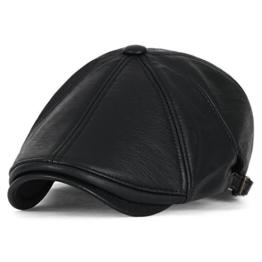 ililily künstliches Leder 9 Platte leicht Schieber Hut klassischer Stil Gatsby Stilisch flach Cap , Black -
