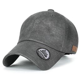 ililily leicht künstliches Leder klassischer Stil Trucker Cap Hut Kettverschnuss Schlaufe Baseball Cap , Grey -