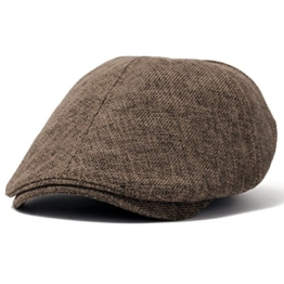 ililily Linen Flat Cap Cabbie Hat Gatsby Ivy Irish Hunting Newsboy Stretch (flatcap-531-11) -