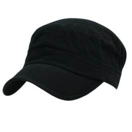 ililily Military Vintage Biker Cotton Cadet Cap Stretch Flex Back (cadet-420-1) -
