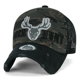 ililily Reh HUNT WILD LIFE Stickerei abgebildet im Logo Tarnkleidung (Camouflage) Krone Netz Baseball Cap , Black -