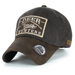 ililily Reh HUNTERS Flicken Baumwolle Baseball Cap künstliches Leder Krempe Trucker Cap Hut , Brown -