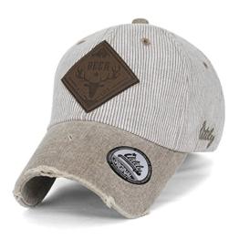 ililily Reh WILD LIFE künstliches Leder Flicken klassischer Stil abgenutztes Aussehen gestreift Baseball Cap , Beige -