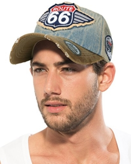 ililily Route 66 Flügellogo aufgenäht Denim Mesh Snapback Baseball Cap (Medium, Light Blue/Leather) -