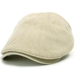 ililily Schirmmütze: auch Flat Cap genannt, besteht aus gewaschener Baumwolle, Cabbie (Chauffeurmütze), Gatsby/Ivy Stil, irische Golfermütze, Schiebermütze (One Size, Sand Beige) -