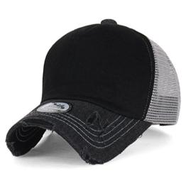 ililily schwarz klassischer Stil abgenutztes Aussehen Netz Snapback blanke Vorderseite Trucker Cap Hut Baseball Cap (ballcap-1472-1-M) -