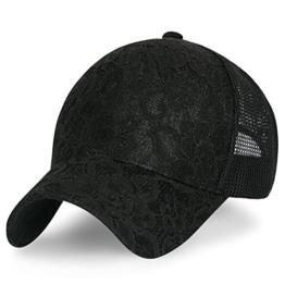 ililily Solid gestickt Blumenmuster Schnürsenkel Netz Baseball Cap verstellbarer Dad Hut , Black -