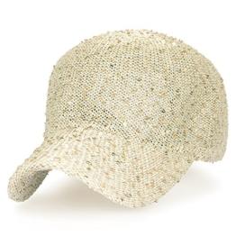 ililily Solid Glitzer Pailette Sommerkleidung gestrickt Hut angepasst Mode Netz Baseball Cap , Gold -