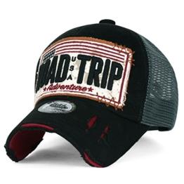 ililily Strasse Trip klassischer Stil abgenutztes Aussehen Snapback Trucker Cap Hut Baseball Cap , Black -