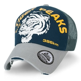 ililily Tiger PEAKS klassischer Stil geriffeltes Muster Baseball Cap Netz Snapback Trucker Cap Hut , Deep Blue -