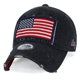 ililily USA Flagge Flicken Denim Baumwolle klassischer Stil abgenutztes Aussehen Baseball Cap Trucker Cap Hut , Black Denim -