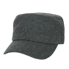 ililily Vintage Soft Wool Military Cap with Adjustable Strap Cadet Cap -