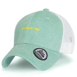 ililily Wake oben abgebildet im Logo Stickerei zweifarbig Netz Baseball Cap Freizeitkleidung Dad Hut , Green -