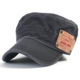 ililily Washed Vintage Military Solid Color Cotton Cadet Cap Flex-fit Army Camo style Hut (cadet-523-1) -