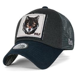 ililily Wolf Reh Tier Rechteck Flicken Freizeitkleidung Netz Baseball Cap Trucker Cap Hut , Prussian Blue -