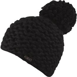 Ina-Strick Mütze mit Innenfleece Damenmütze - handmade (schwarz) -