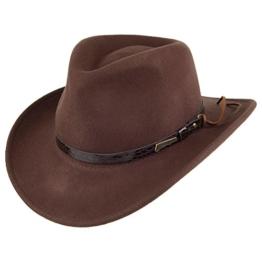 Indiana Jones Outback Cowboyhut aus Wollfil - Braun - S -