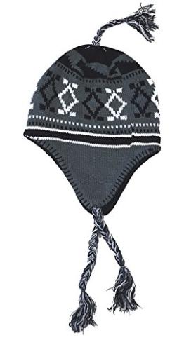 Inka Mütze mit lustigen Zöpfen Norwegermotiv,100% Acryl; weich und warm innen gefüttert One size - Variante3 - grau -
