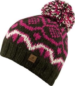 IRINA-Strick Mütze mit Innenfleece Unisex Strickmütze mit trendigen Muster und Bommel-handmade in Nepal-100% Wolle (forest/pink) -