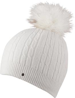 IVANA - HAT leichte Strickmütze mit farbig abgesetzter Pom Pom einfarbige Strickmütze Mütze Wintermütze Bommelmütze , Pom Pom (weiß) -