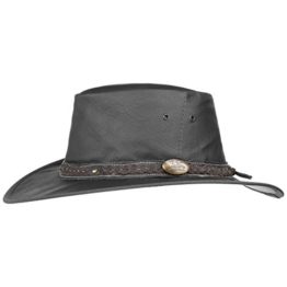 Jacaru Roo Nomad Lederhut Australischer Hut Cowboyhut Westernhut Outbackhut Herrenhut Outbackhut (M/55-56 - schwarz) -