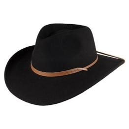 Jaxon & James Outback Cowboyhut aus Wollfilz mit Kinnband - Schwarz - L -