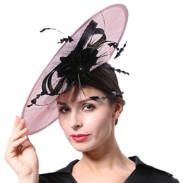 June's Young Damen Damenhut Brauthut Kopfschmuck Mit Federn Blumen Haarschmuck Hut Für Hochzeit Hochzeitshut Kopfbedeckung (Rosa) -