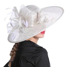 June's Young Damen Damenhut Brauthut Haarschmuck Mit Feder Kopfschmuck Blume am Haar Für Hochzeit Kopfbedeckung (Weiß) -