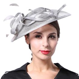 June's Young Damen Damenhut Brauthut Kopfschmuck Mit Feder Haarschmuck Für Hochzeit Anlasshut Kopfbedeckung (Grau) -