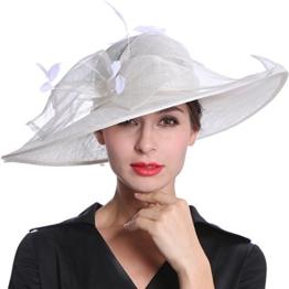 June's Young Damen Damenhut Brauthut Kopfschmuck Mit Federn Haarschmuck Kopfbedeckung Braut Hut Für Hochzeit Karneval (Weiß) -