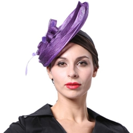 June's Young Damen Fascinator Brauthut Haarschmuck Mit Feder Kopfschmuck Kopfbedeckung Für Hochzeit Karneval Anlasshut Hochzeitshut (Violett) -