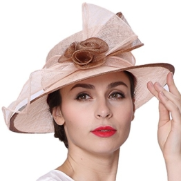 June's Young Damen-Huete Derby Hut mit Blumen Hut aus Hanf Sonnenhut Sinamayhut fuer Hochzeit Reise Kirche UV-Schutz -