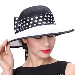 June'Young Damen-Huete Eleganter Hut aus Hanf Polka Dots Sinamayhut Hanfhut Sommer Hut fuer Hochzeit Reise Tea -