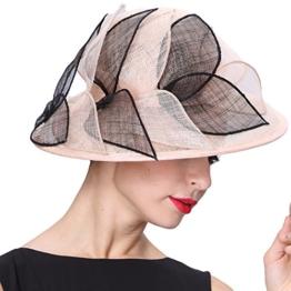 June'Young Damen-Huete Eleganter Hut mit Dekorativen Blaetter Sommer Hut aus Hanf Sonnenhut UV-Schutz -