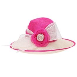 June'Young Damen-Huete Sonnenhut mit Blumen Derby Hut aus Hanf Bereite Krempe Sommer Hut Sinamayhut fuer Reise Tea UV-Schutz -