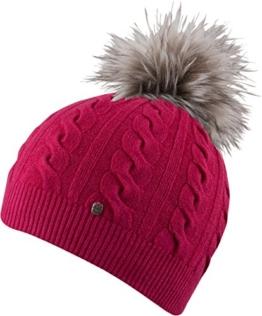 Jutta- HAT leichte Strickmütze mit farbig abgesetzter Pom Pom einfarbige Strickmütze Mütze Wintermütze Bommelmütze , Pom Pom ( (pink) -