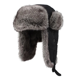 Kenmont unisex Kunstpelz Winter Russland Bomber Hut Trapper Ohrenklappe Fliegermütze (XXL-24.41inches) -