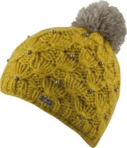 KLARA - Bommelmütze mit dezenten Perlenbesatz- handmade, Beanie Strickmütze Mütze Wintermütze Beanie Damen (curry) -