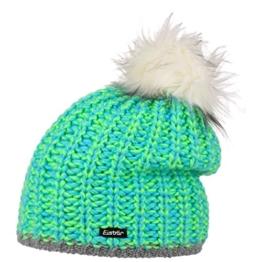 Klio Lux Pompon Damenmütze Eisbär Strickmütze Bommelmütze (One Size - grün) -