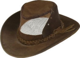 Lederhut aus feinstem Rindleder mit Lüftungsgitter, Farben:braun, Kopfgröße:XL -