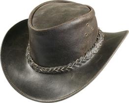 Lederhut braun im Vintage Look, Farben:dunkelbraun, Kopfgröße:XL -